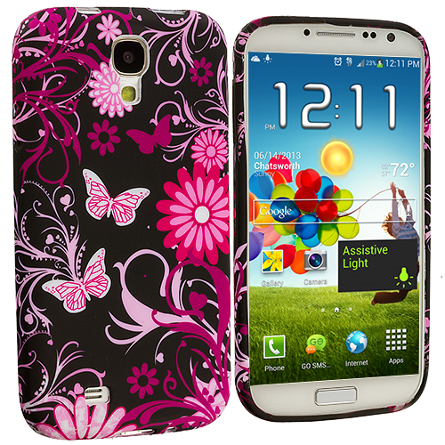 Samsung Galaxy S4 Pink Butterfly Flower TPU Design Soft Case Cover