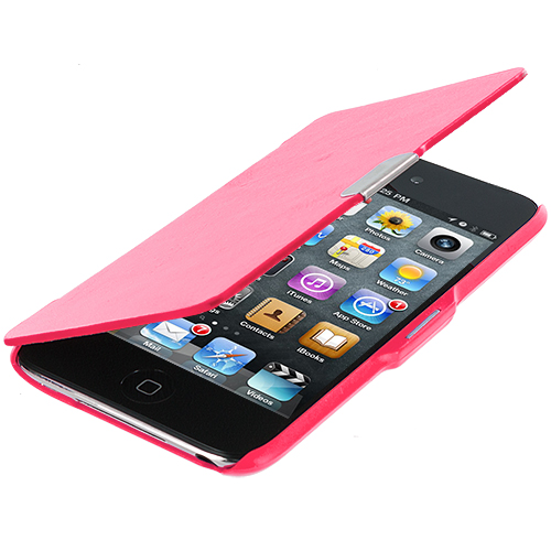 Apple iPod Touch 4th Generation Hot Pink Texture Magnetic Wallet Case Cover Pouch