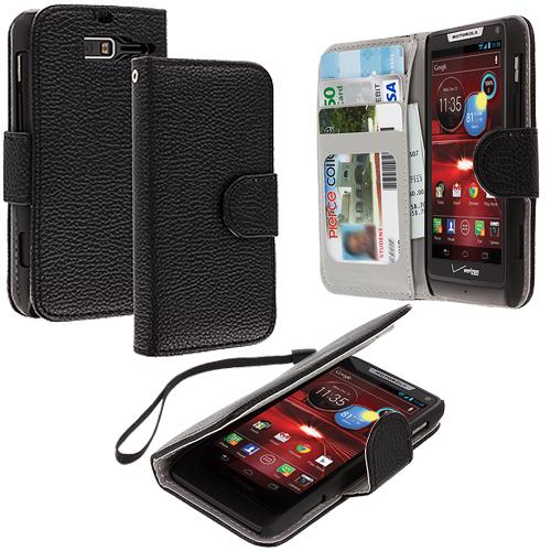 Motorola Droid Razr M XT907 / Luge Black Leather Wallet Pouch Case Cover with Slots