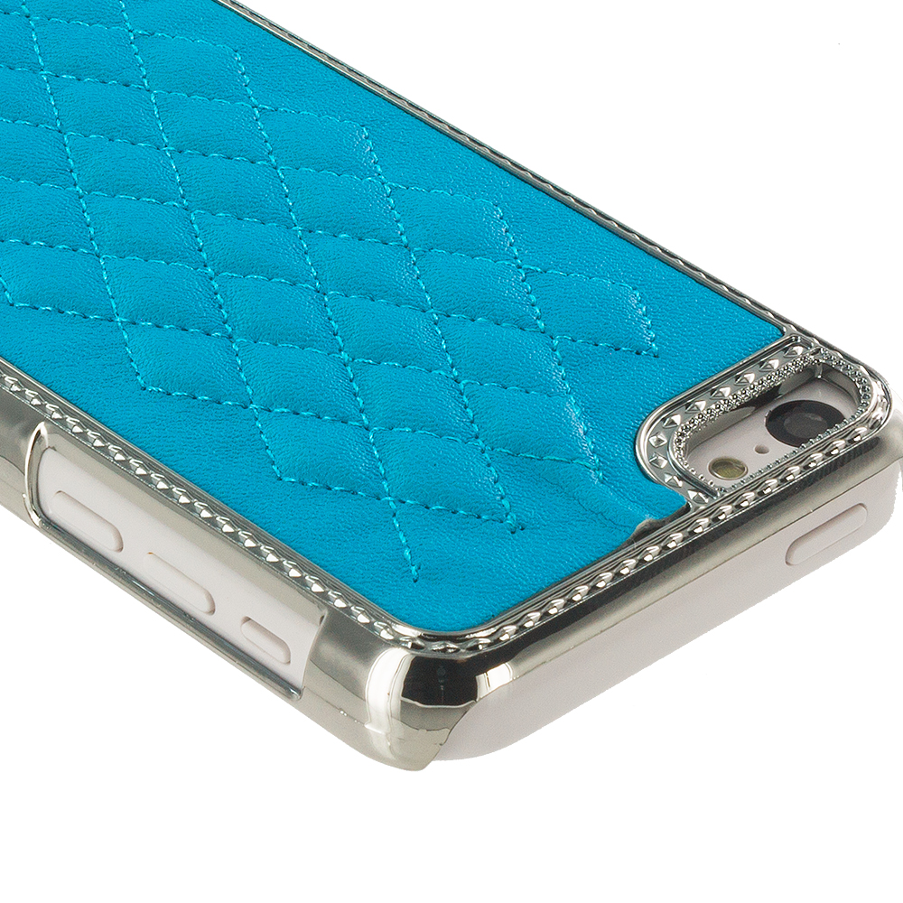 Apple iPhone 5C 2 in 1 Combo Bundle Pack - Baby Blue Pink Metal Quilted Hard/Soft Case Cover : Color Baby Blue
