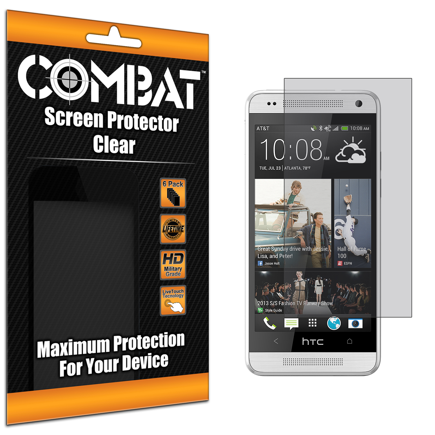 HTC One Mini Combat 6 Pack Anti-Glare Matte Screen Protector