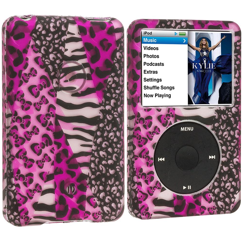 Apple iPod Classic Splicing Grid Leopard Hard Rubberized Design Case Cover