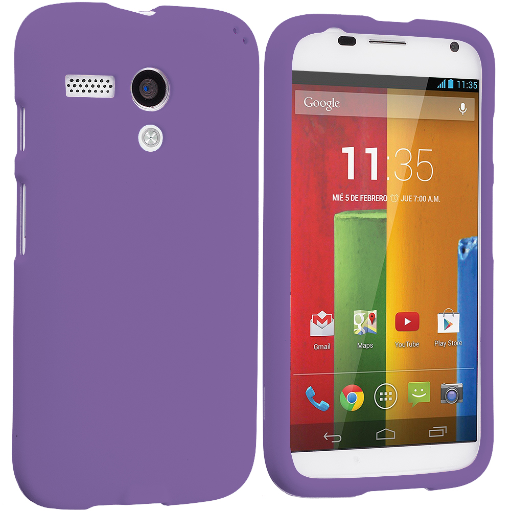 Motorola Moto G 2 in 1 Combo Bundle Pack - Purple White Hard Rubberized Case Cover : Color Purple