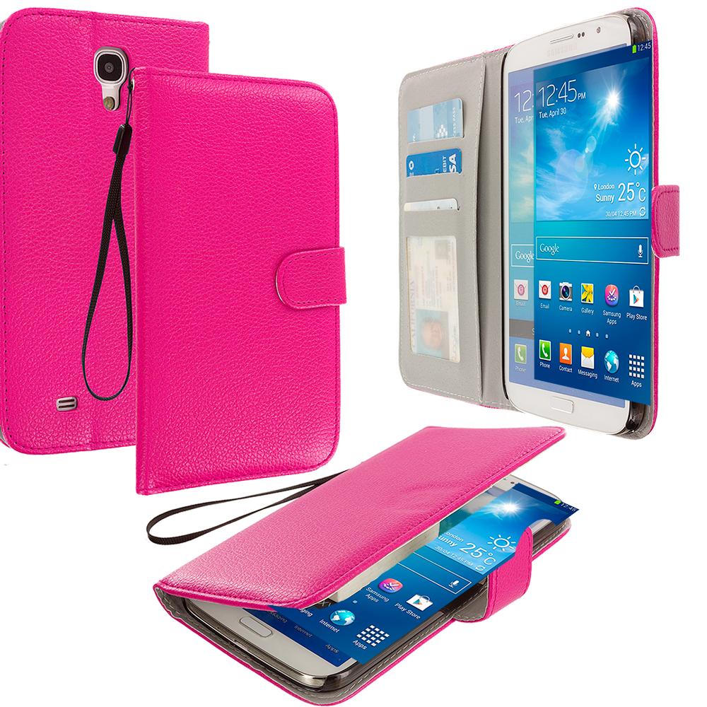 Samsung Galaxy Mega 6.3 Hot Pink Leather Wallet Pouch Case Cover with Slots