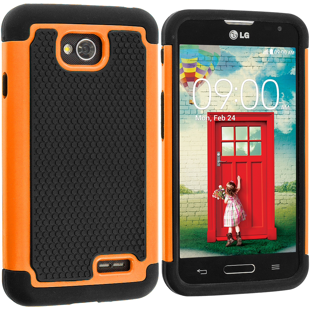 LG Optimus L70 Exceed 2 Realm LS620 Black / Orange Hybrid Rugged Hard/Soft Case Cover