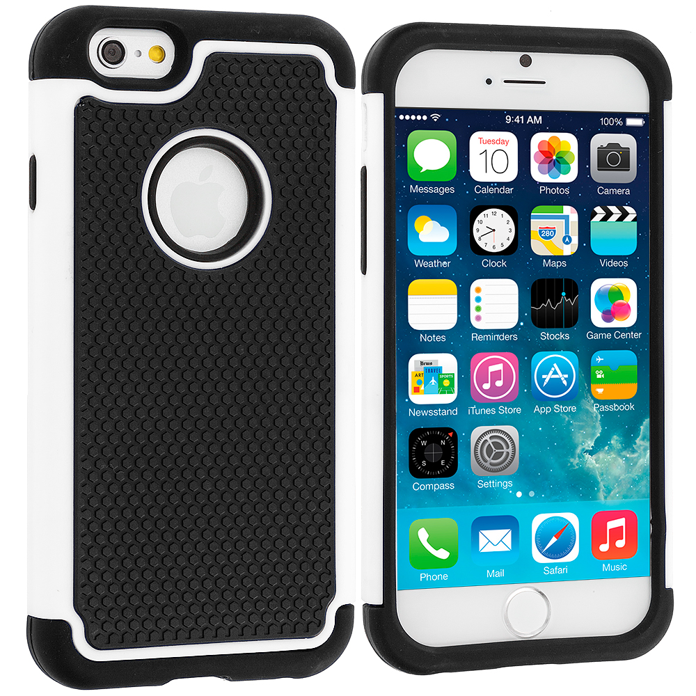 Apple iPhone 6 6S (4.7) Black / White Hybrid Rugged Hard/Soft Case Cover