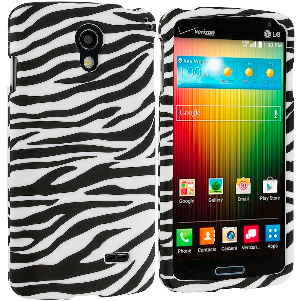LG Lucid 3 VS876 Black / White Zebra Hard Rubberized Design Case Cover