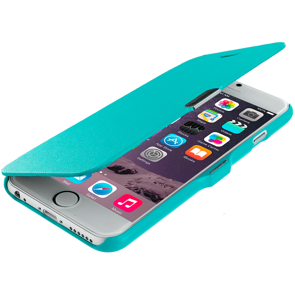 Apple iPhone 6 6S (4.7) 4 in 1 Combo Bundle Pack - Magnetic Wallet Case Cover Pouch : Color Baby Blue