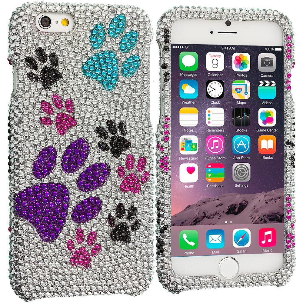 Apple iPhone 6 Plus 6S Plus (5.5) Dog Paw Bling Rhinestone Case Cover