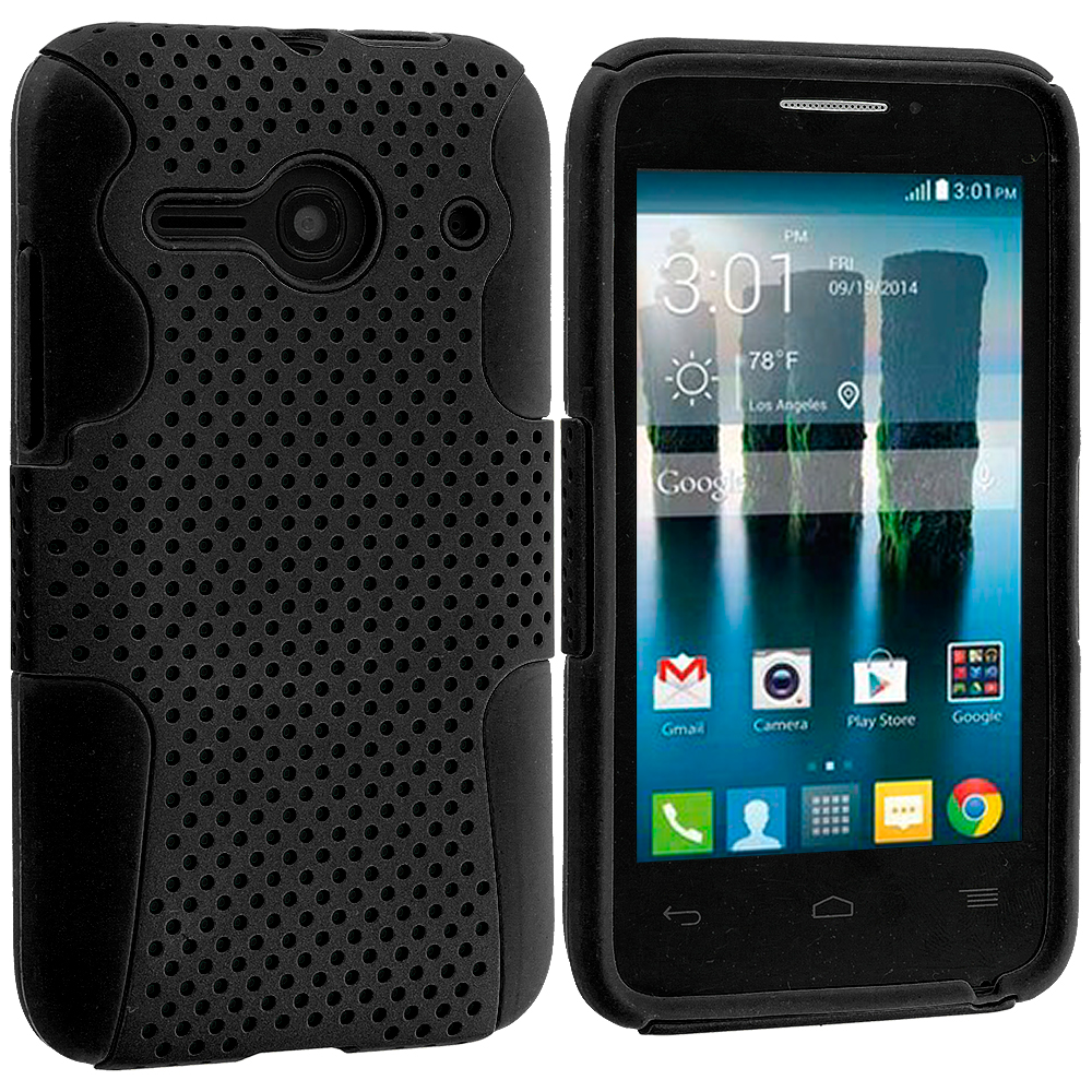Alcatel One Touch Evolve 2 Black / Black Hybrid Mesh Hard/Soft Case Cover