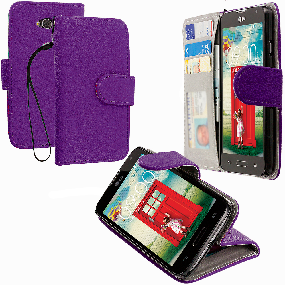 LG Optimus L70 Purple Leather Wallet Pouch Case Cover with Slots