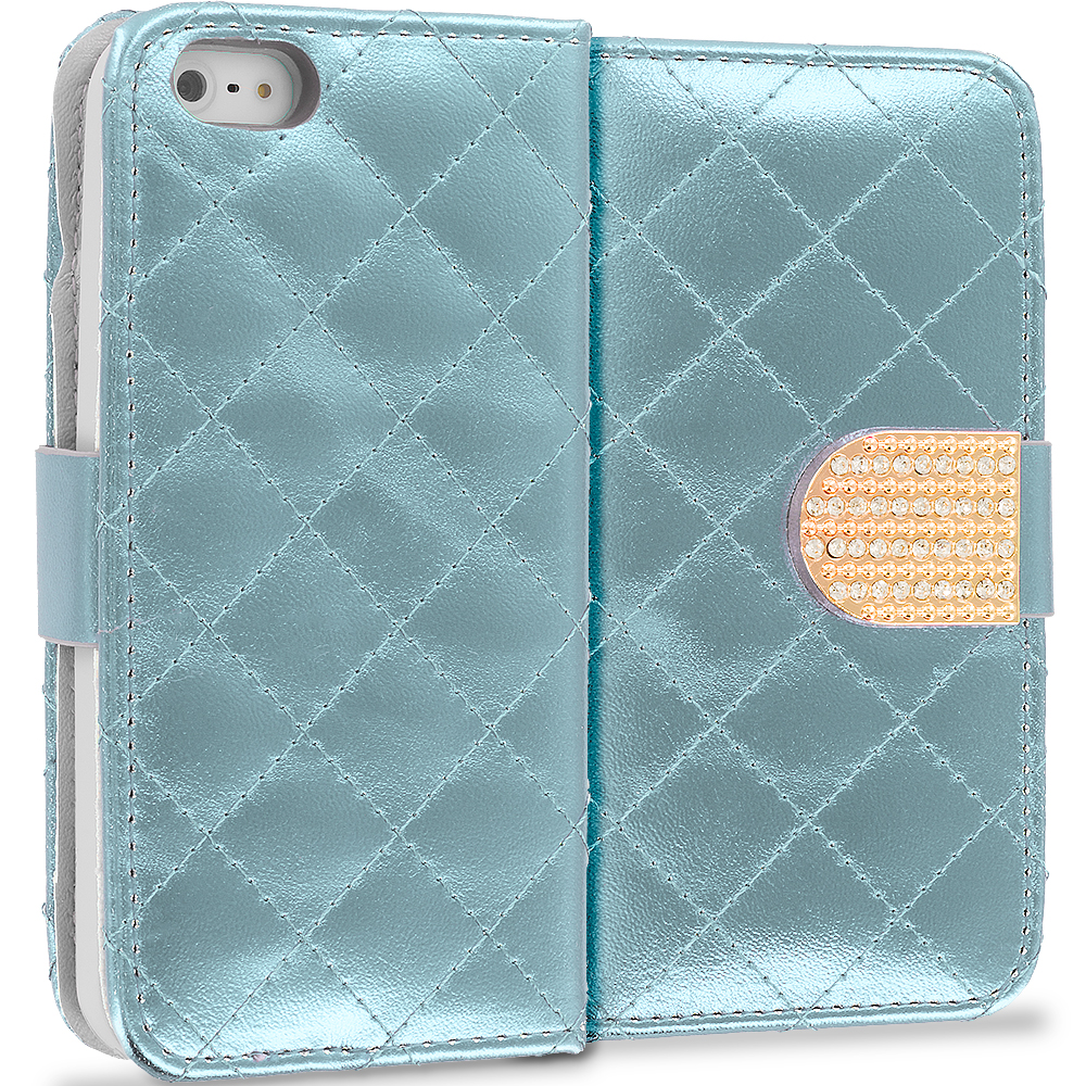 Apple iPhone 5/5S/SE White Luxury Wallet Diamond Design Case Cover With Slots