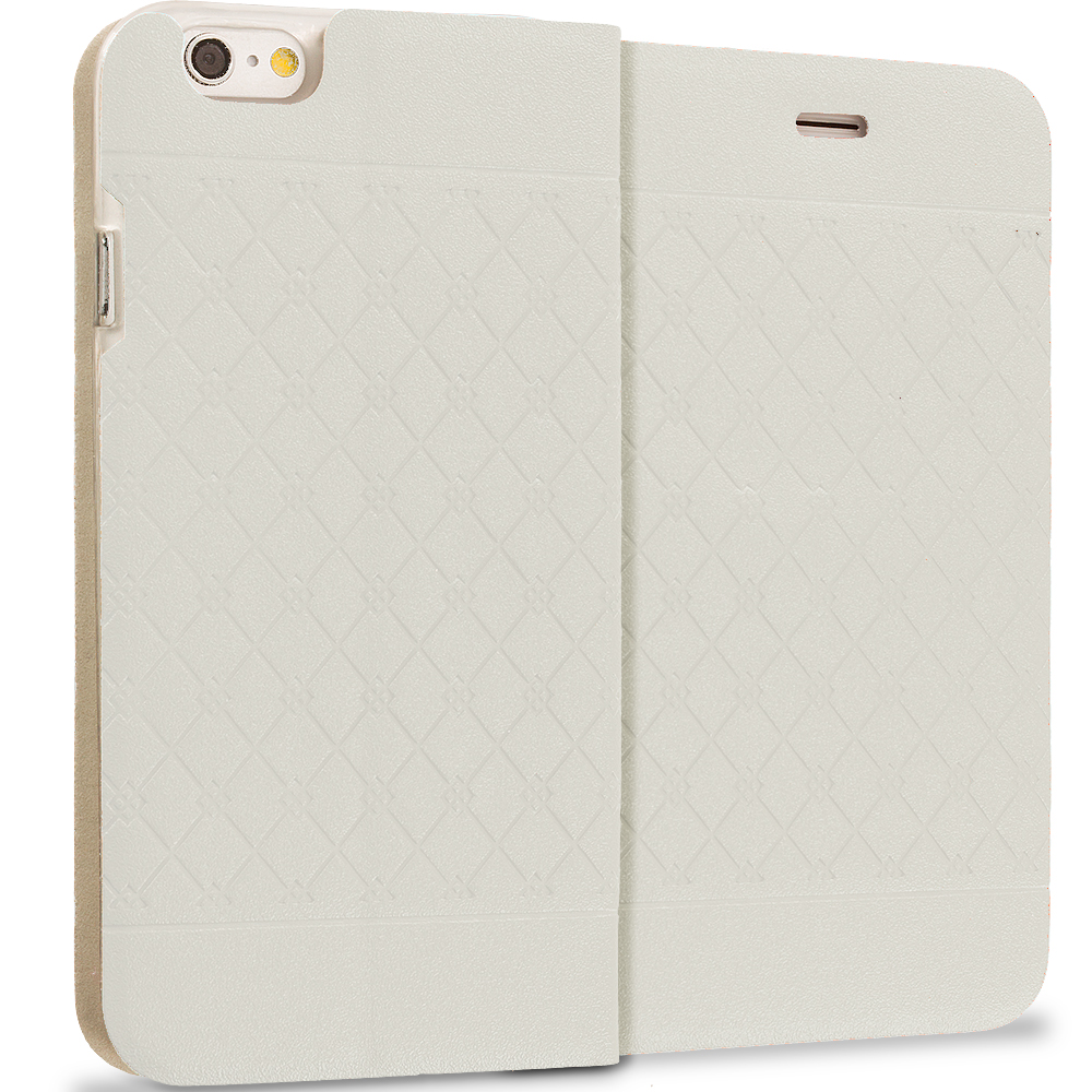 Apple iPhone 6 6S (4.7) White Slim Wallet Plaid Luxury Design Flip Case Cover