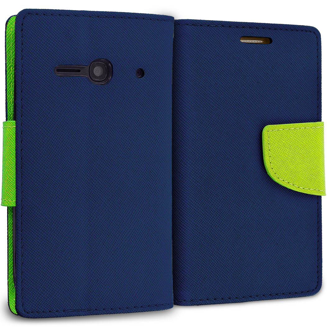 Alcatel One Touch Evolve 2 Navy Blue / Neon Green Leather Flip Wallet Pouch TPU Case Cover with ID Card Slots
