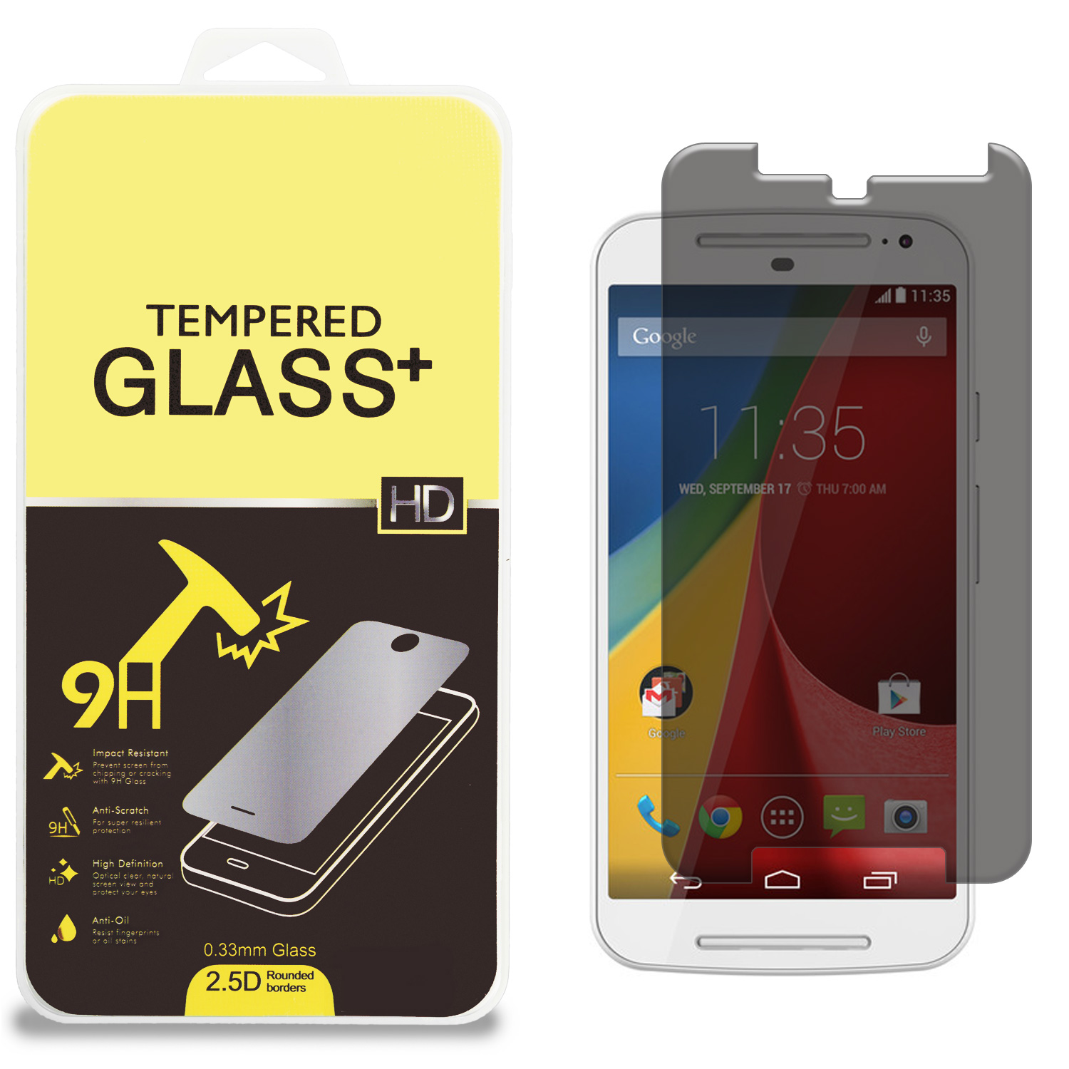 Motorola Moto G 2nd Gen 2014 Privacy Tempered Glass High Quality 0.33mm Screen Protector