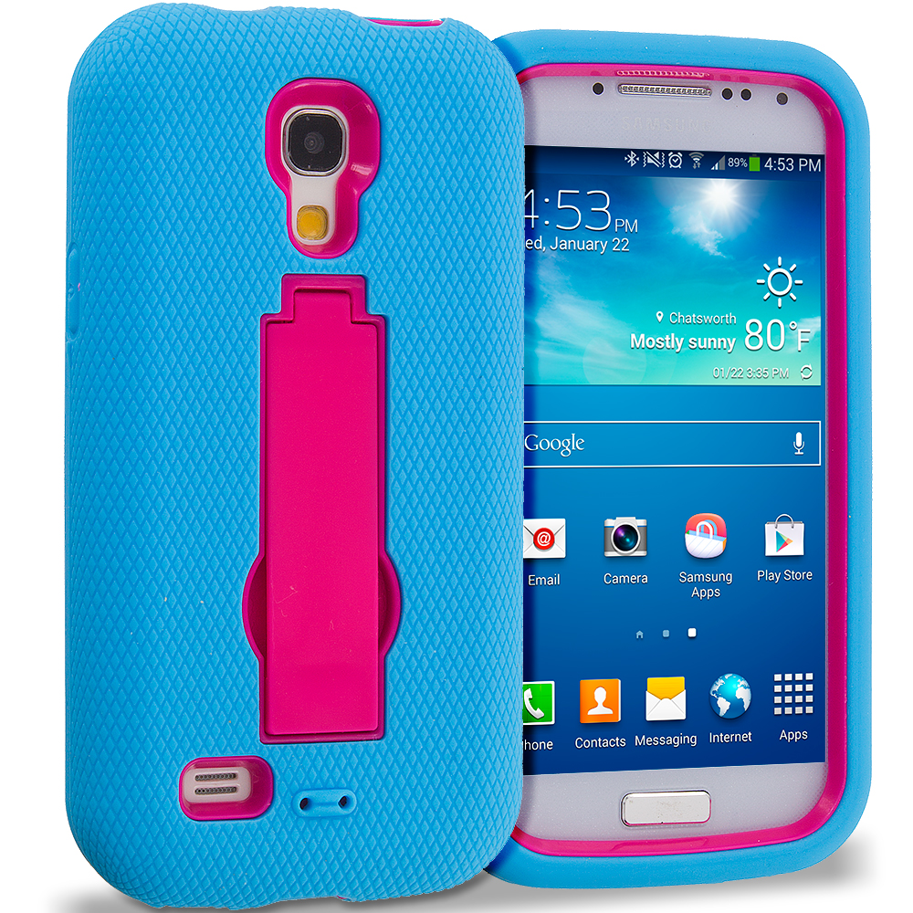 Samsung Galaxy S4 Mini i9190 Baby Blue / Hot Pink Hybrid Heavy Duty Hard Soft Case Cover with Kickstand