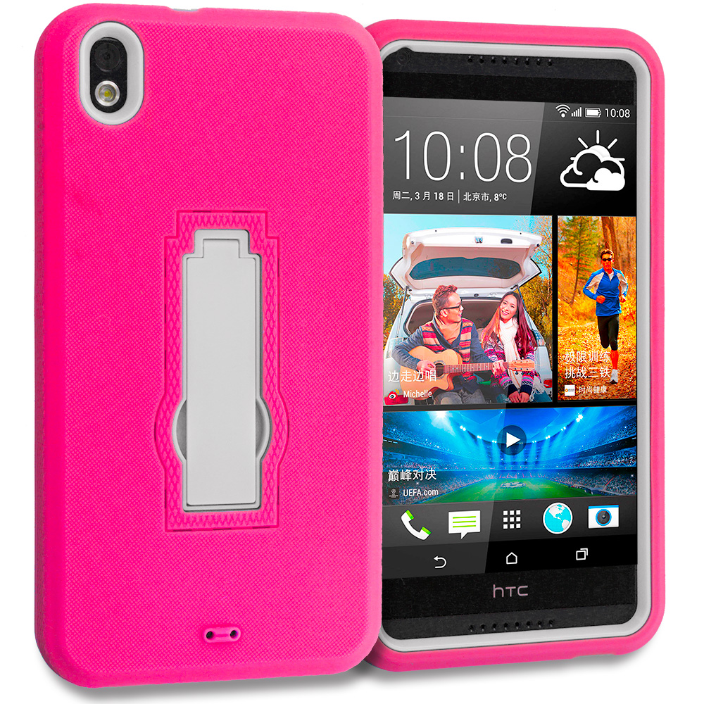 HTC Desire 816 Hot Pink / White Hybrid Heavy Duty Hard Soft Case Cover with Kickstand