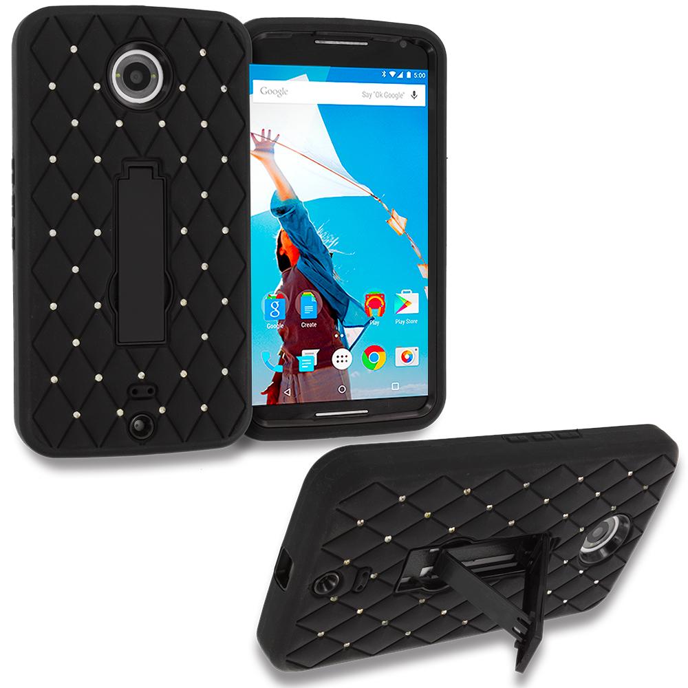 Motorola Google Nexus 6 Black / Black Hybrid Diamond Bling Hard Soft Case Cover with Kickstand