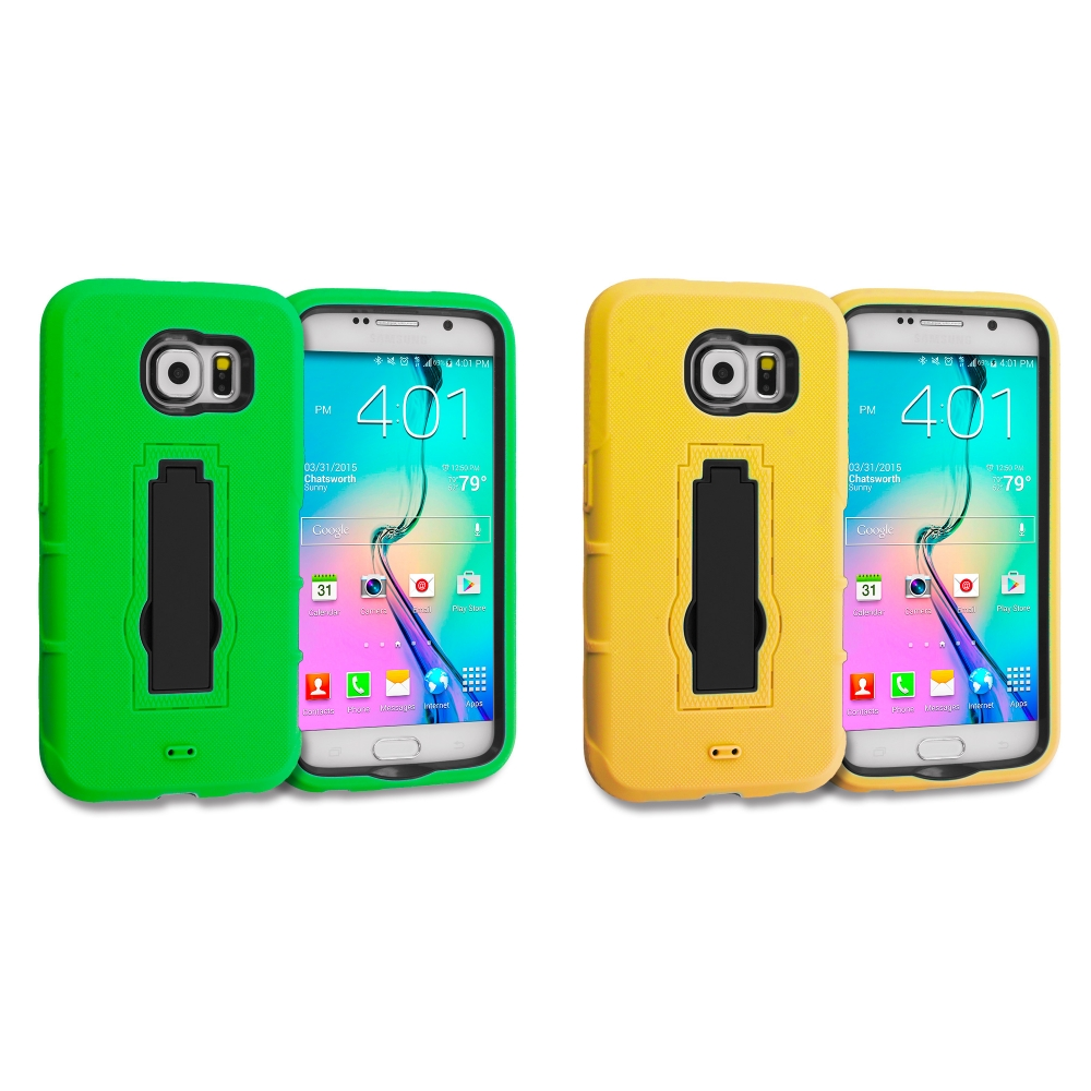 Samsung Galaxy S6 Combo Pack : Neon Green / Black Hybrid Heavy Duty Hard Soft Case Cover with Kickstand