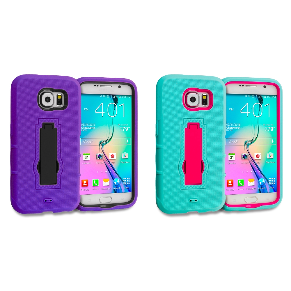 Samsung Galaxy S6 2 in 1 Combo Bundle Pack - Hybrid Heavy Duty Hard Soft Case Cover with Kickstand