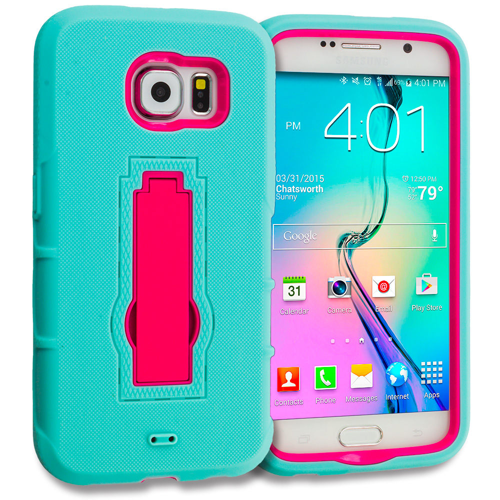 Samsung Galaxy S6 2 in 1 Combo Bundle Pack - Hybrid Heavy Duty Hard Soft Case Cover with Kickstand : Color Teal / Hot Pink