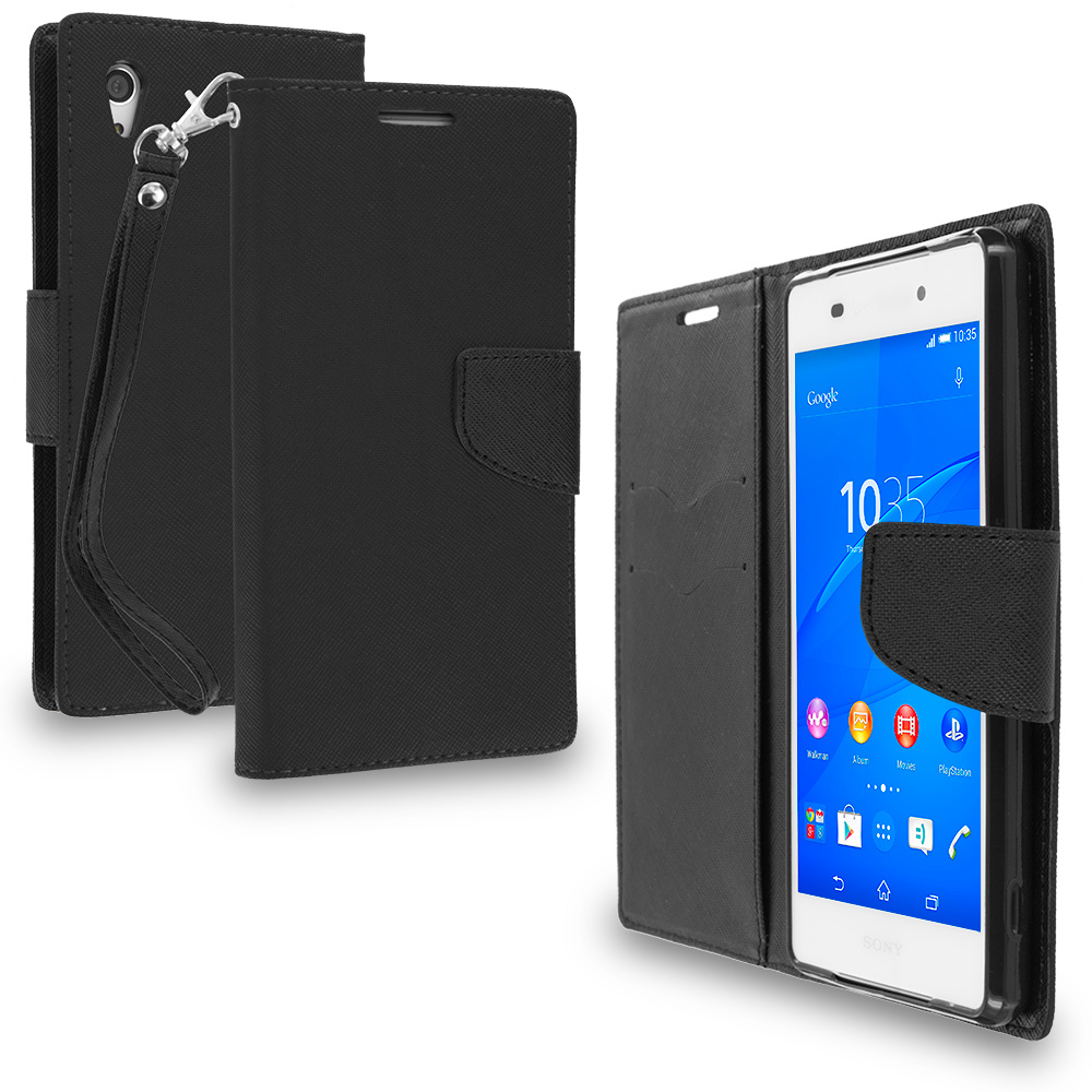 Sony Xperia Z3v Verizon Black / Black Leather Flip Wallet Pouch TPU Case Cover with ID Card Slots