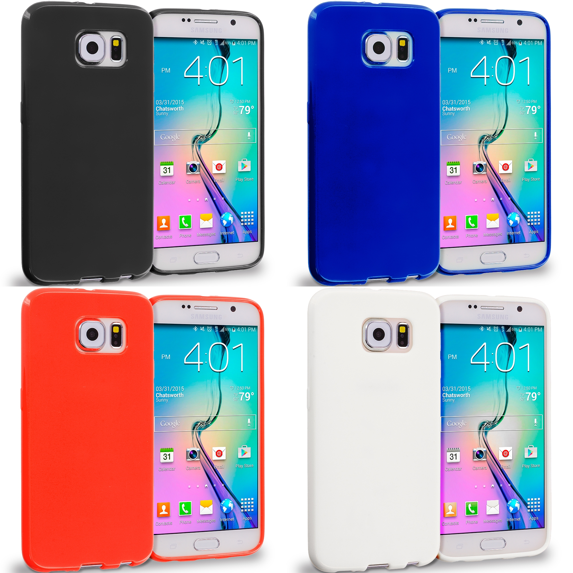 Samsung Galaxy S6 4 in 1 Combo Bundle Pack - Solid TPU Rubber Skin Case Cover
