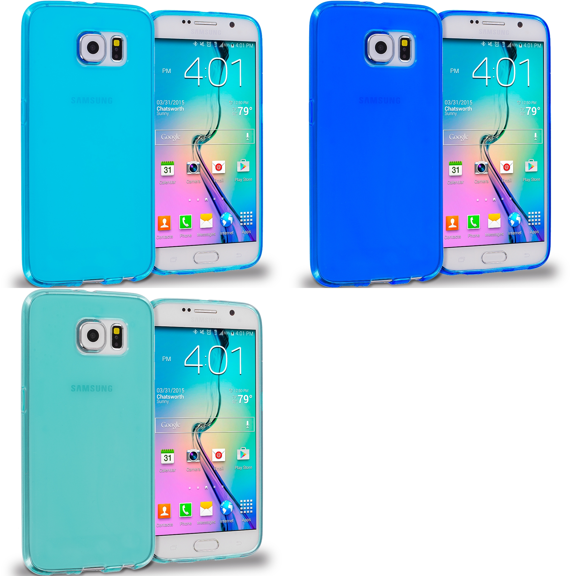 Samsung Galaxy S6 Combo Pack : Blue Plain TPU Rubber Skin Case Cover