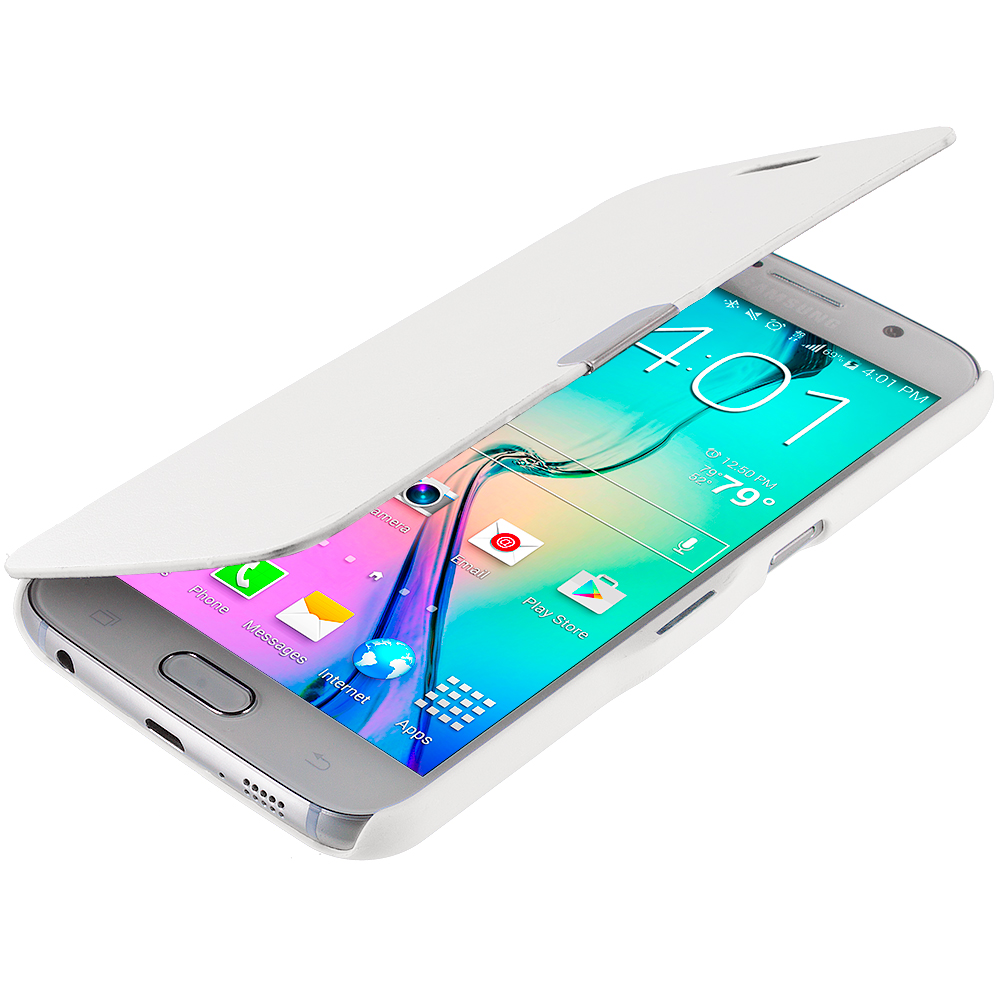 Samsung Galaxy S6 White Magnetic Flip Wallet Case Cover Pouch