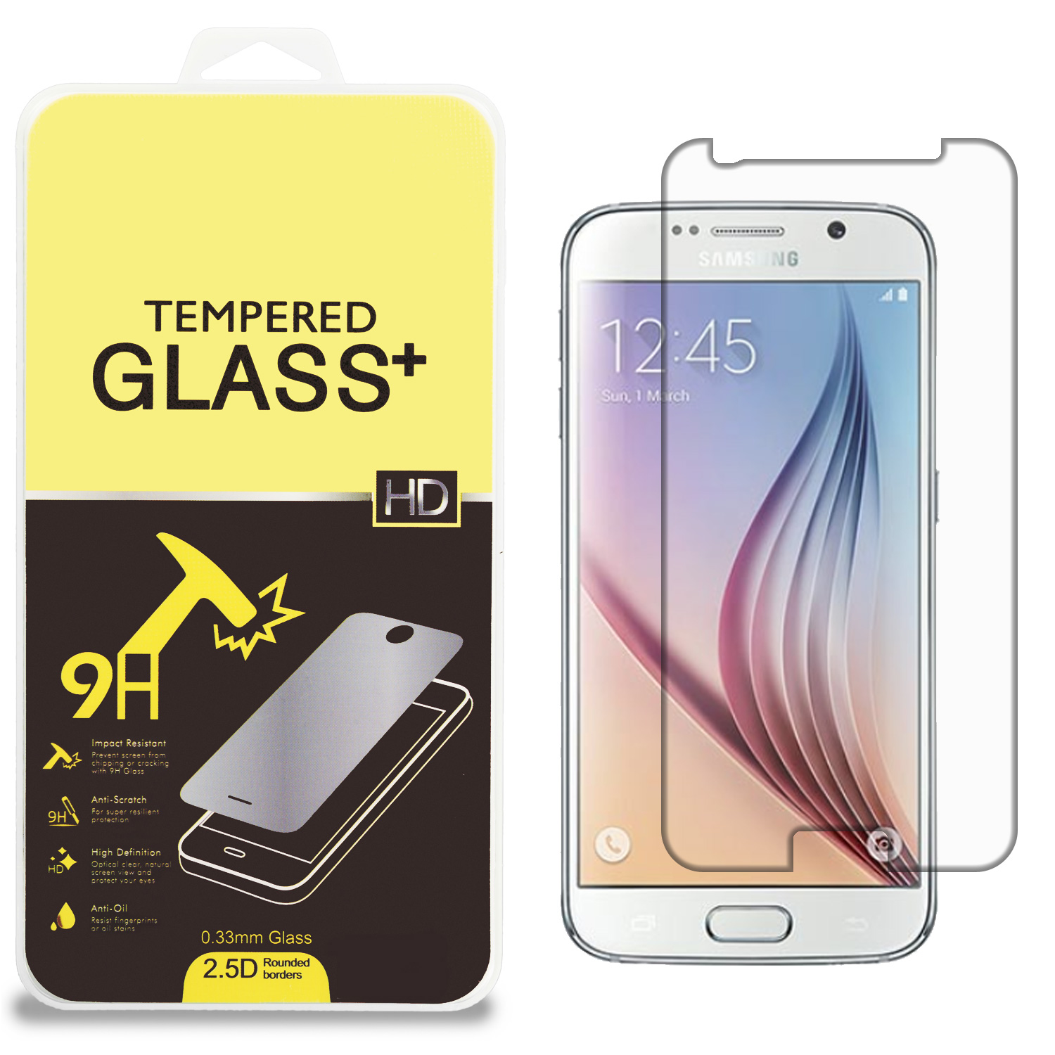 Samsung Galaxy S6 Clear Tempered Glass High Quality 0.33mm LCD Screen Protector