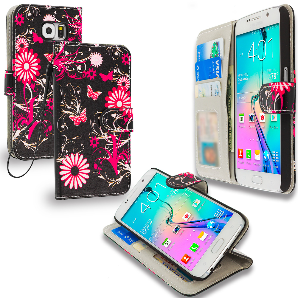 Samsung Galaxy S6 Combo Pack : Pink Butterfly Flower Leather Wallet Pouch Case Cover with Slots : Color Pink Butterfly Flower