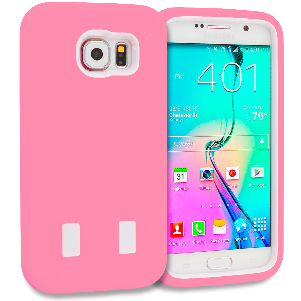 Samsung Galaxy S6 Combo Pack : Baby Blue / Hot Pink Hybrid Deluxe Hard/Soft Case Cover : Color Light Pink / White