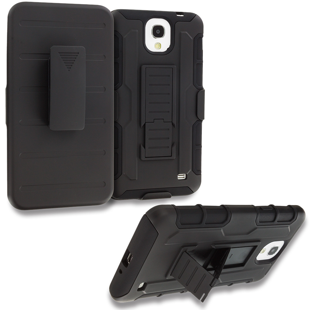 Samsung Galaxy Mega 2 Black Hybrid Rugged Robot Armor Heavy Duty Case Cover with Belt Clip Holster