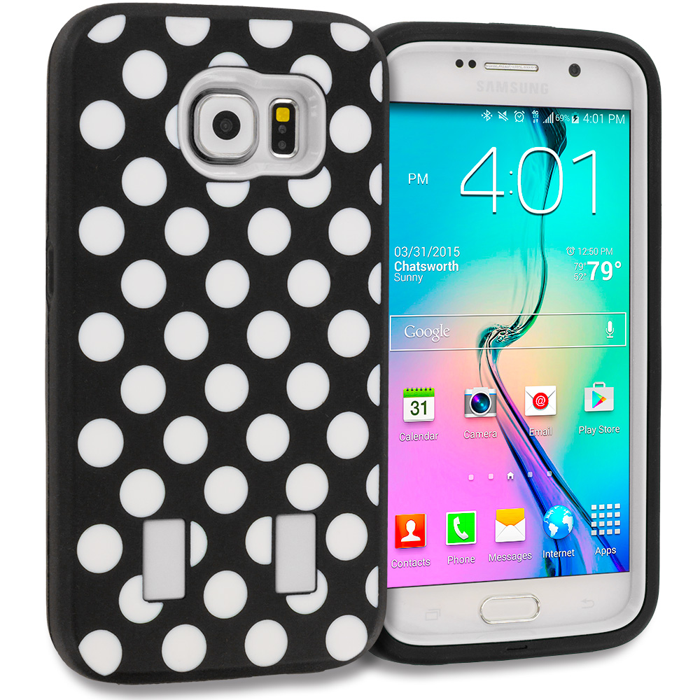 Samsung Galaxy S6 Polka Dot White Hybrid Deluxe Hard/Soft Case Cover