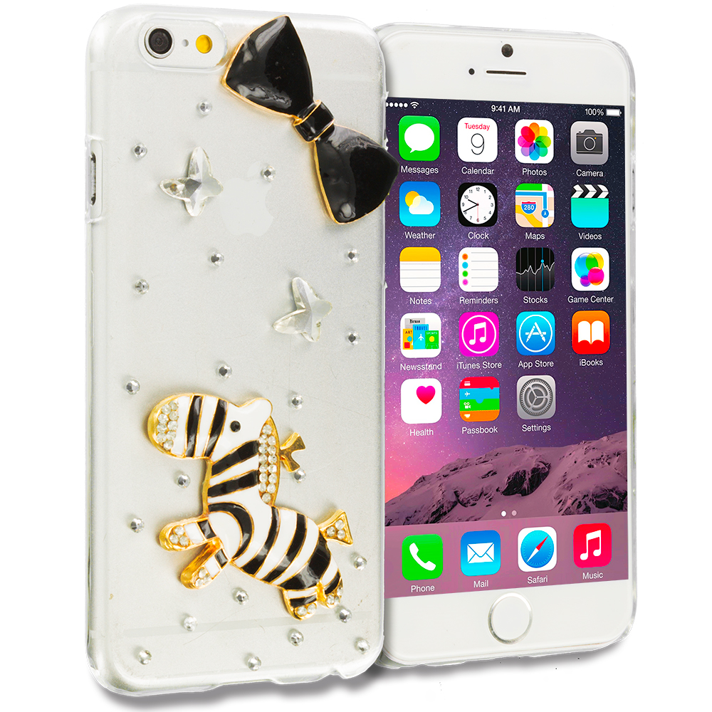 Apple iPhone 6 6S (4.7) Zebra Bow Bling Rhinestone Case Cover
