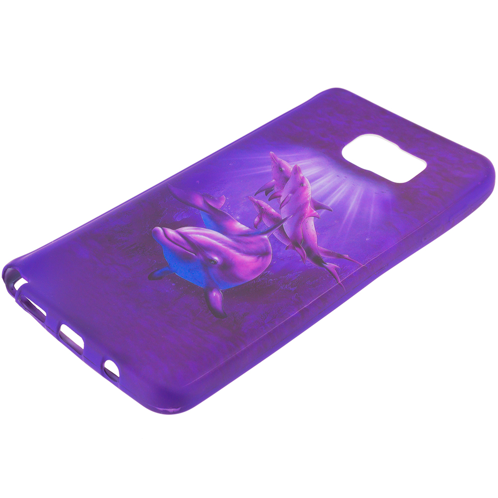 Samsung Galaxy Note 5 Purple Dolphin TPU Design Soft Rubber Case Cover