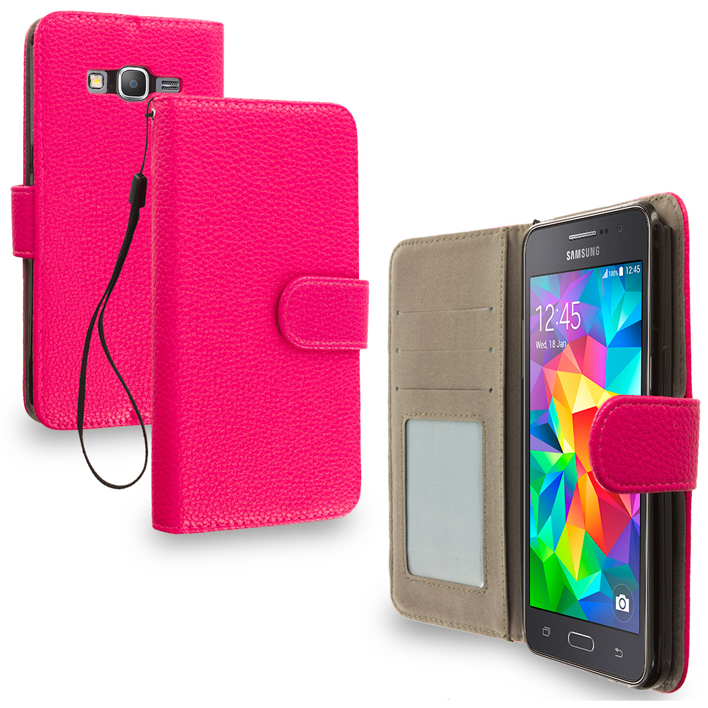Samsung Galaxy Grand Prime LTE G530 Hot Pink Leather Wallet Pouch Case Cover with Slots