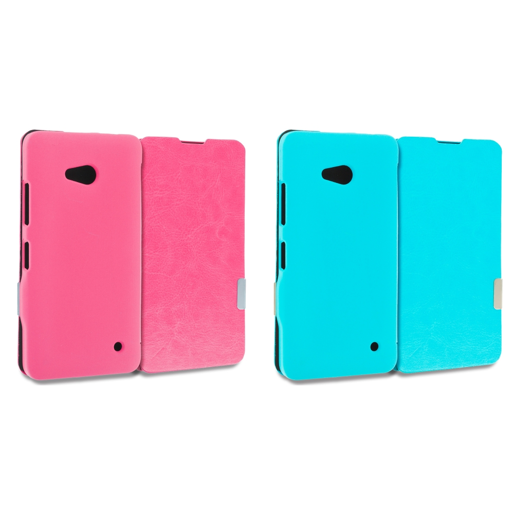 Microsoft Lumia 640 2 in 1 Combo Bundle Pack - Hot Pink Blue Magnetic Flip Wallet Case Cover Pouch