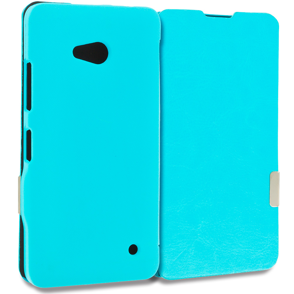 Microsoft Lumia 640 Baby Blue Magnetic Flip Wallet Case Cover Pouch
