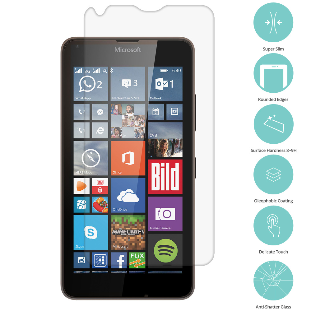 Microsoft Lumia 640 Clear Tempered Glass Film Screen Protector Clear