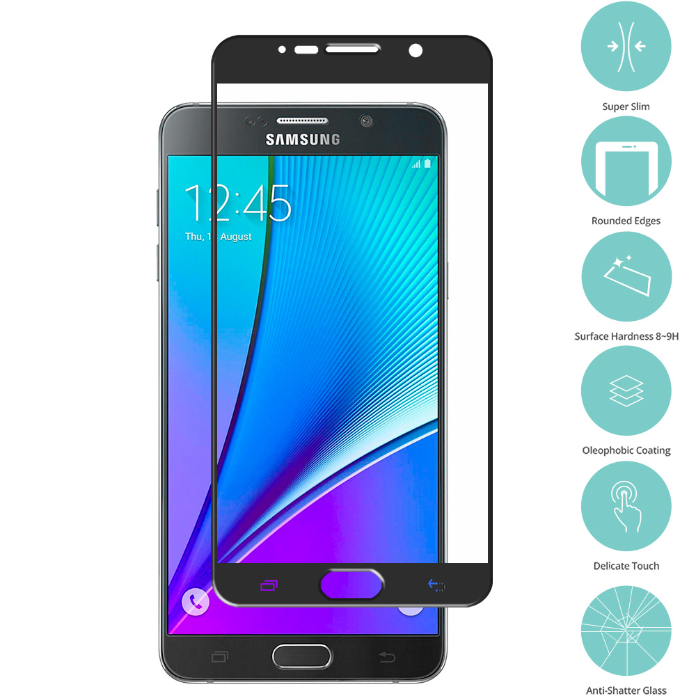 Samsung Galaxy Note 5 Black Tempered Glass Film Screen Protector Colored