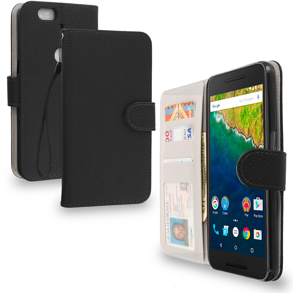 Huawei Google Nexus 6P Black Leather Wallet Pouch Case Cover with Slots