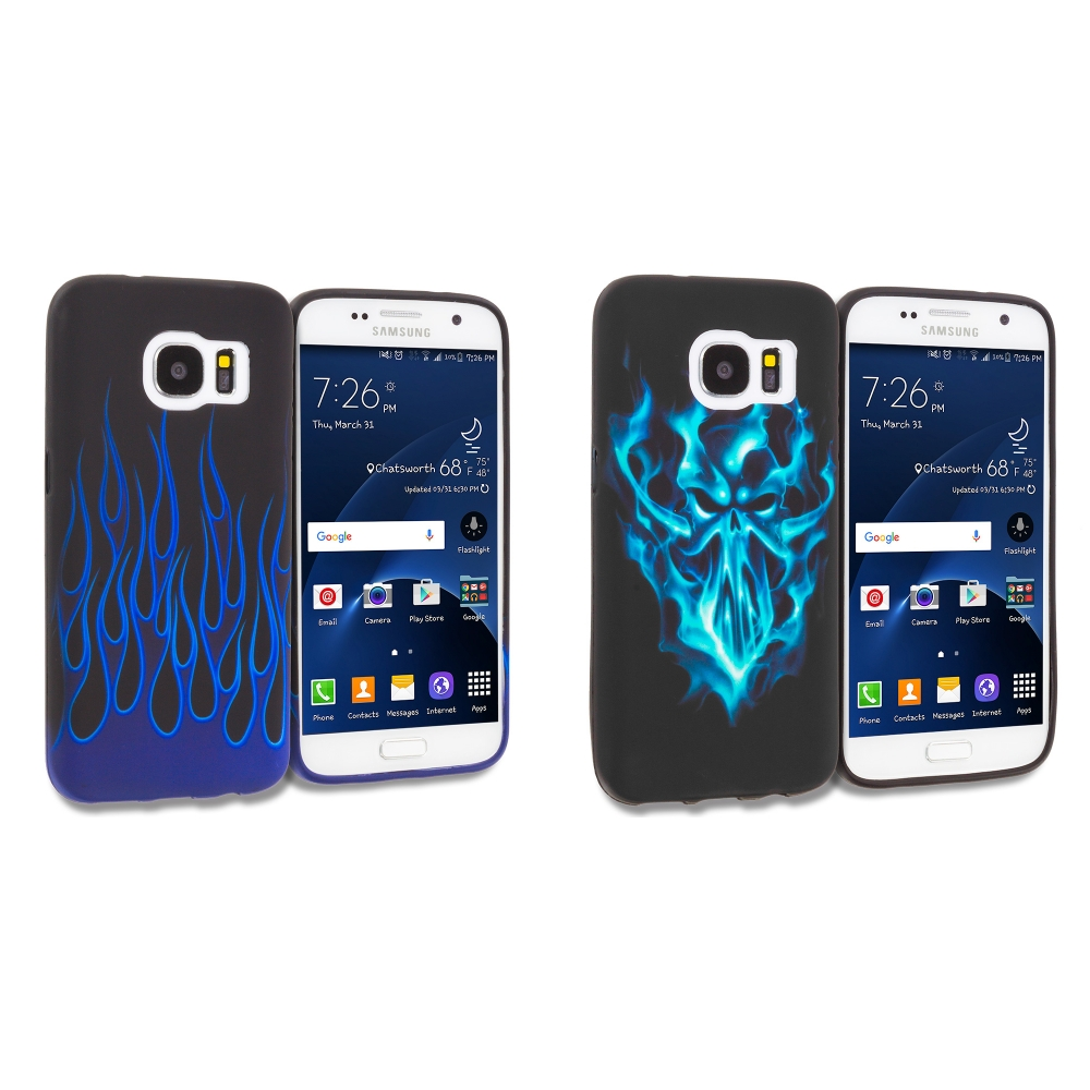 Samsung Galaxy S7 Combo Pack : Blue Skull Face TPU Design Soft Rubber Case Cover