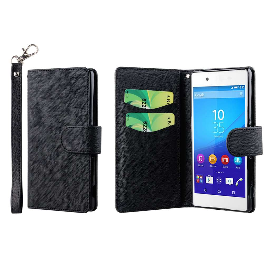 Sony Xperia Z4 - Black MPERO FLEX FLIP Wallet Case Cover