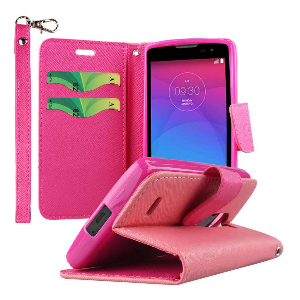 LG Leon / Tribute 2 - Hot Pink MPERO FLEX FLIP 2 Wallet Stand Case Cover