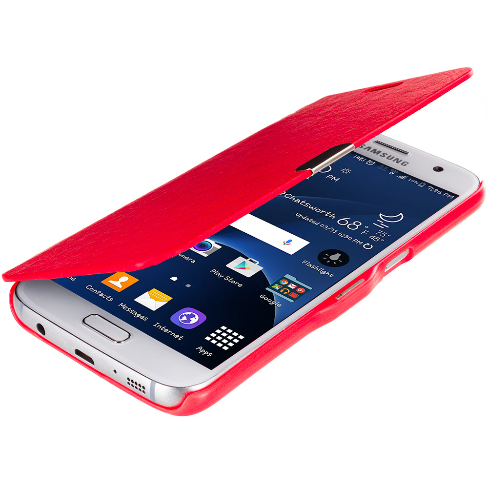 Samsung Galaxy S7 Combo Pack : Neon Green Magnetic Flip Wallet Case Cover Pouch : Color Red