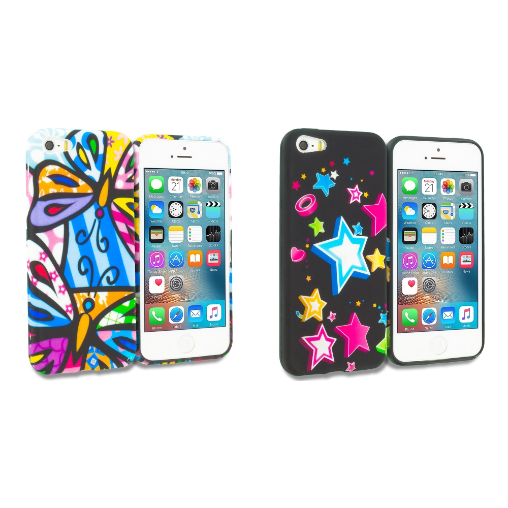 Apple iPhone 5/5S/SE Combo Pack : Rainbow Butterfly TPU Design Soft Rubber Case Cover