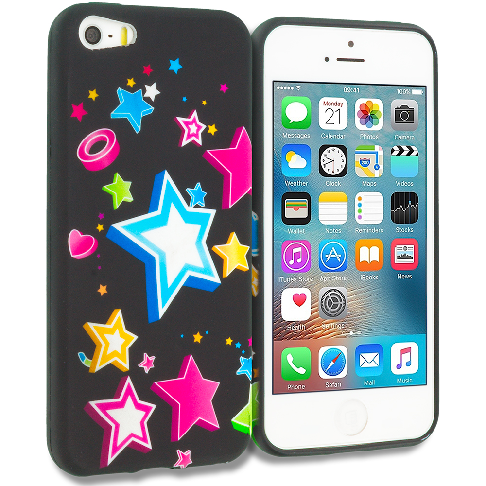 Apple iPhone 5/5S/SE Rainbow Star TPU Design Soft Rubber Case Cover