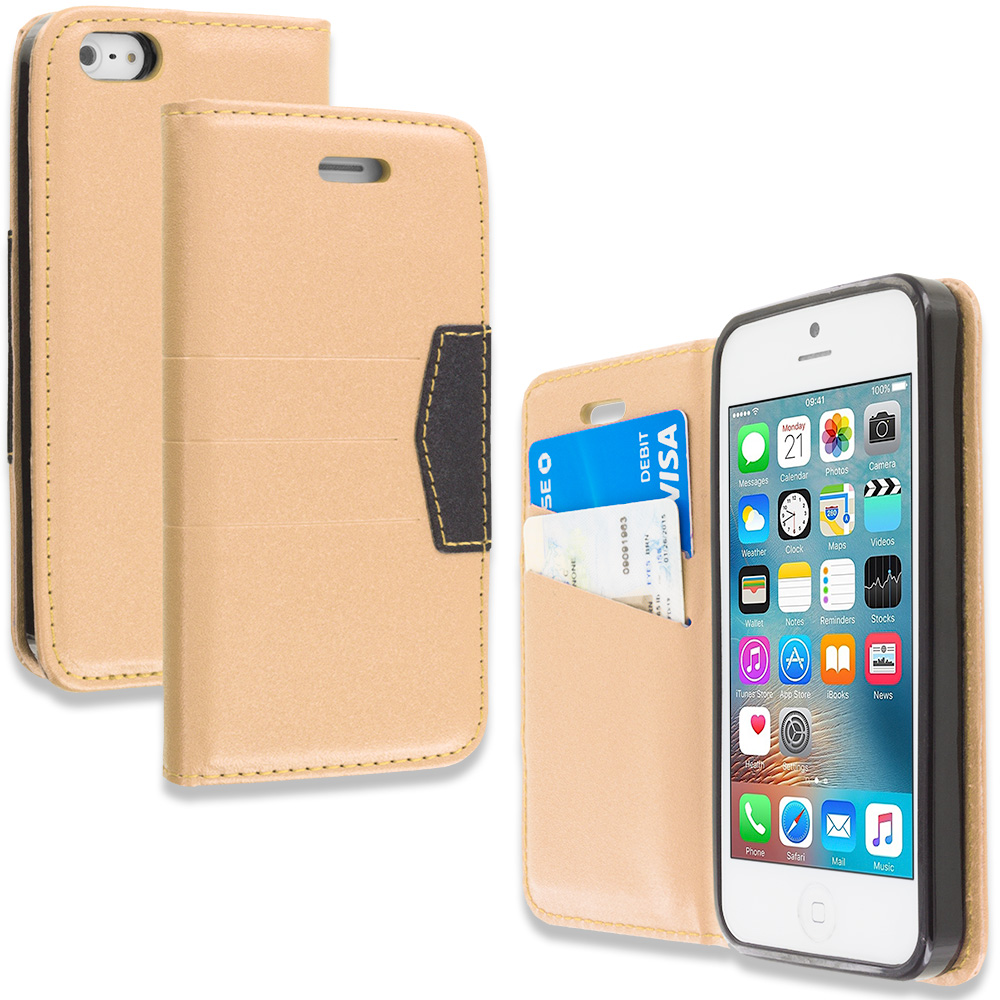 Apple iPhone 5/5S/SE Gold Wallet Flip Leather Pouch Case Cover with ID Card Slots