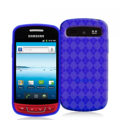 Samsung Admire R720 Blue Checkered TPU Rubber Skin Case Cover